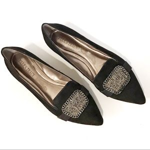 ELLEN TRACY Black Suede Flats with Beading Detail